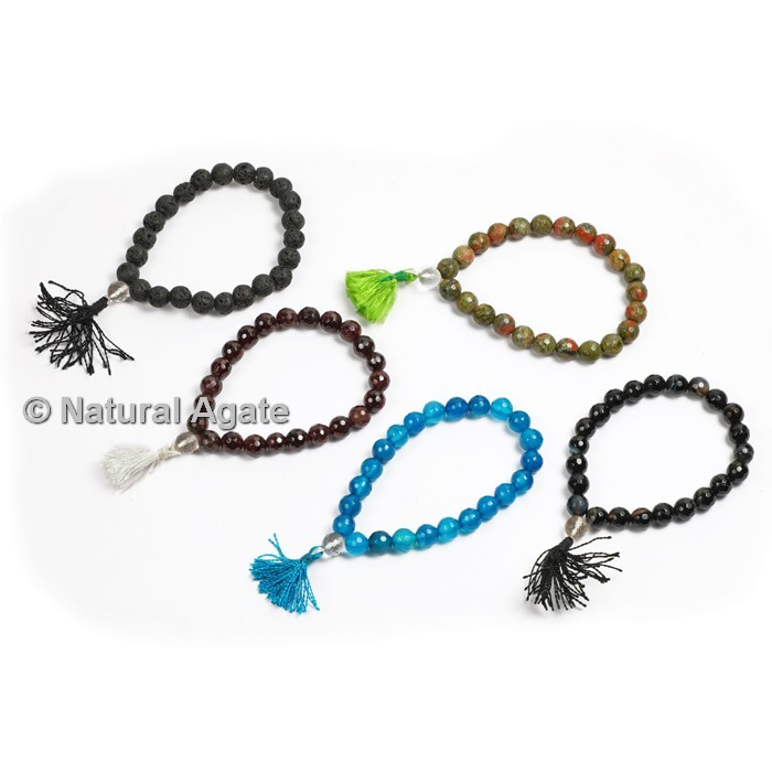 Mix Agate Faceted Healing Yoga Bracelet