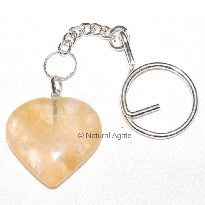 Golden Quartz Heart Keychain