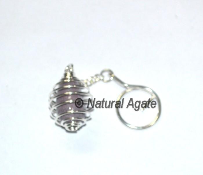 Lepidolite Tumbled Cage Keychain