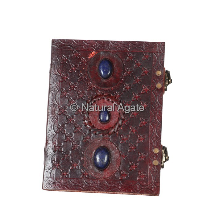 Printed Red Leather Journals with Lapis Lazuli Stones