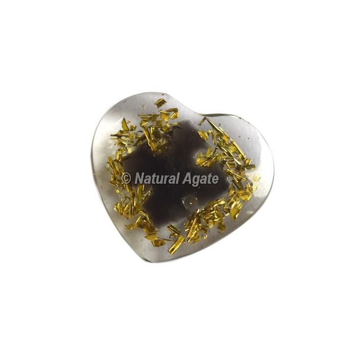Flower Design On Crystal Quartz Orgone Heart