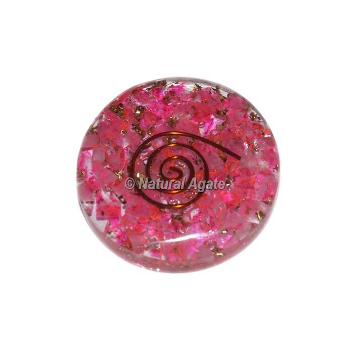 Pink Crystals Orgonite Disc Cab