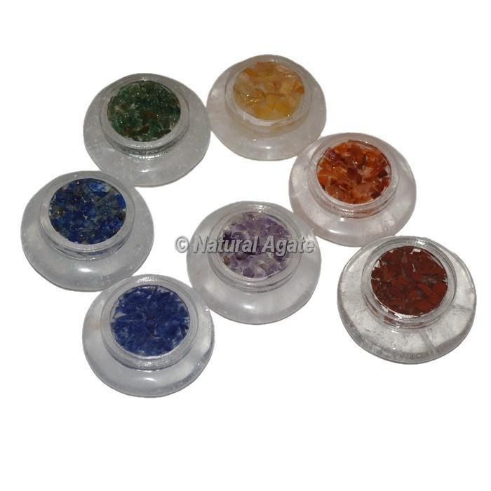 Crystal Quartz With Orgonite Chakra Set
