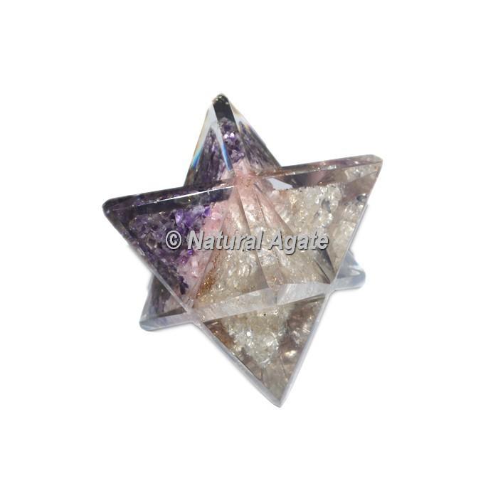 Orgone Amethyst-Rose-Crystal Big Merkaba Star