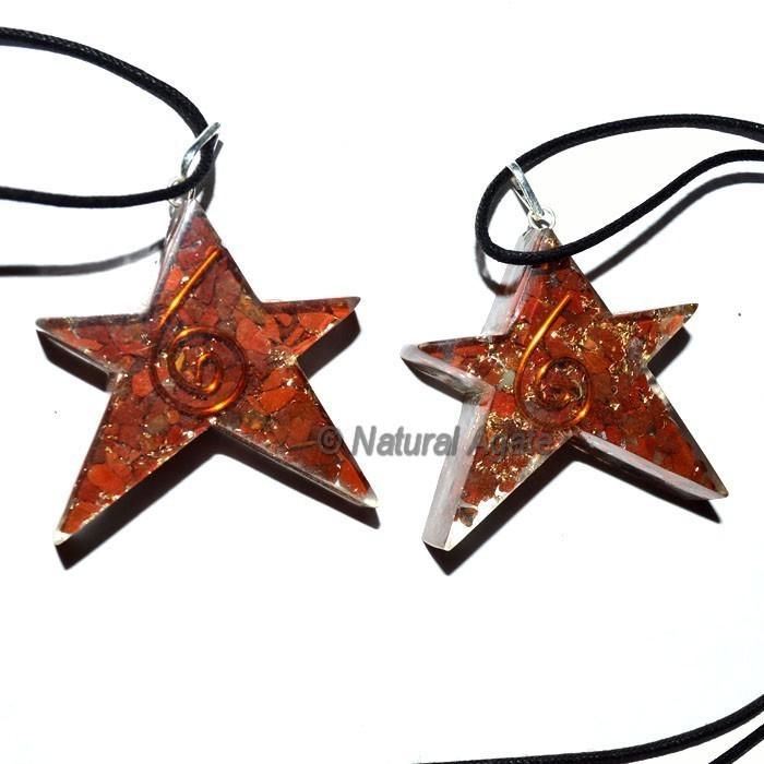 Orgone Jasper Star Pendants With Leather Code