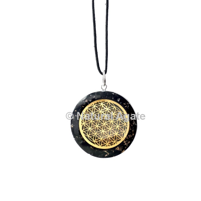 Black Agate Orgone Disc Pendant With Flower Of Life