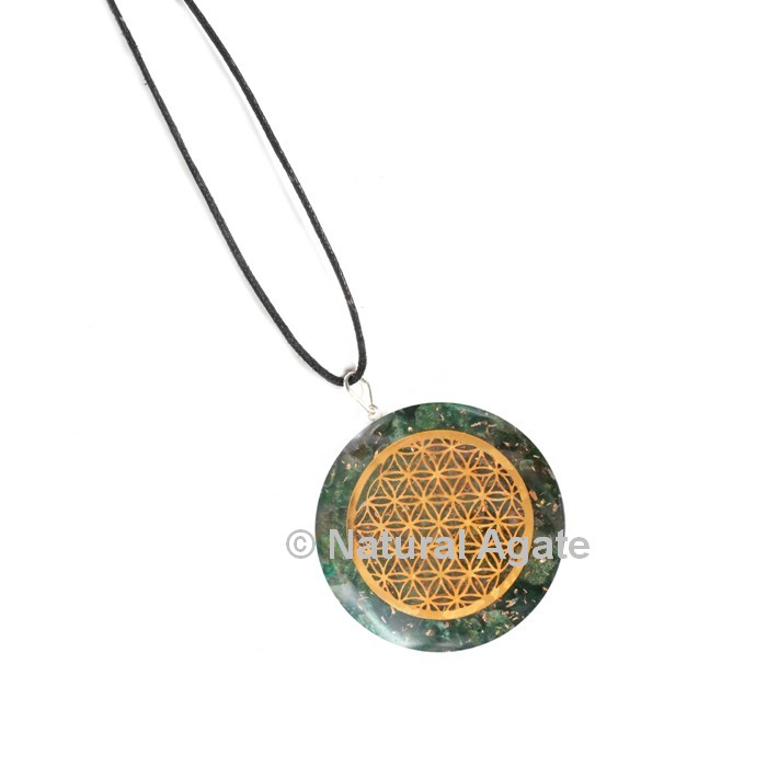 Green Jade with Engraved Flower Of Life Orgone Pendant