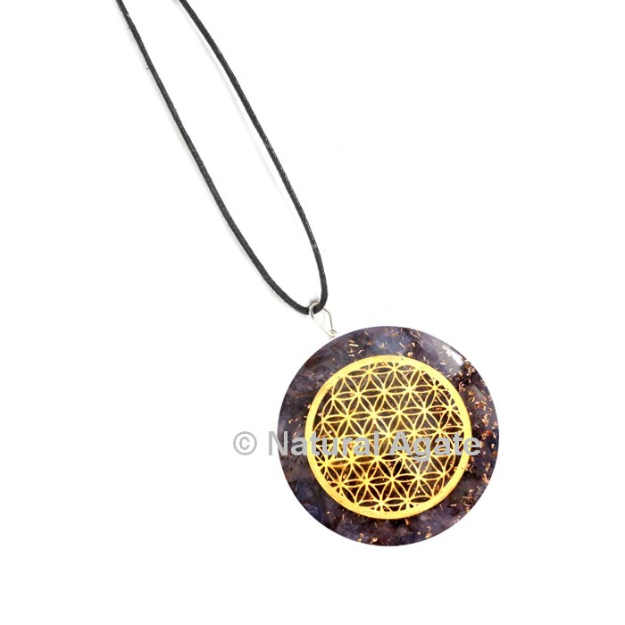 Amethyst with Engraved Flower Of Life Orgone Pendant
