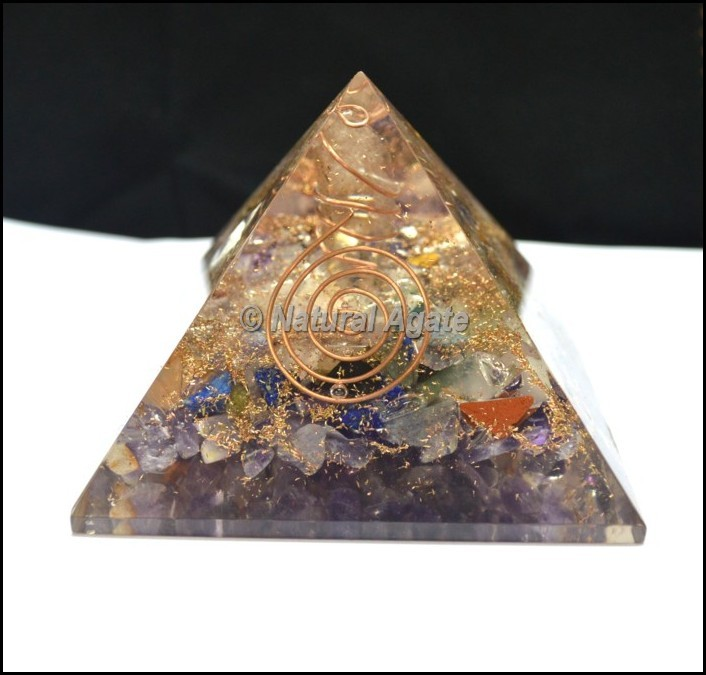 Multi Stone Orgone Pyramid with Point