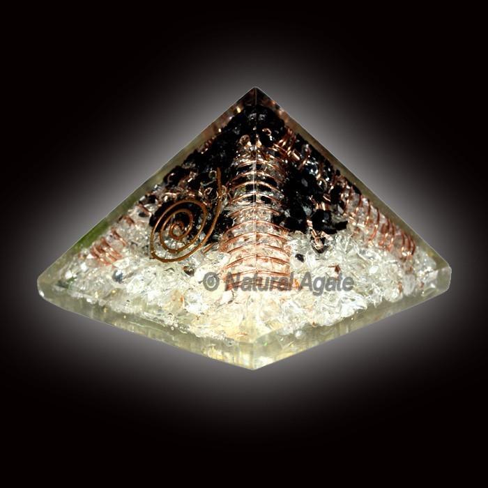 Black Tourmaline With Crystal Quartz Orgone Pyramid