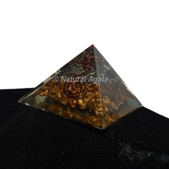 Tiger Eye With Crystal Pencil Orgonite Pyramid