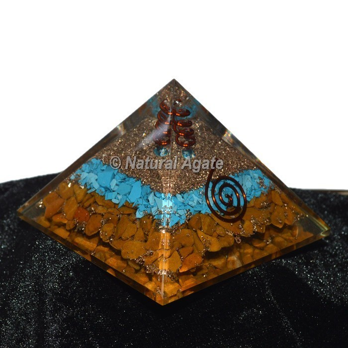 Yellow Jasper With Turquoise Orgone Pyramid