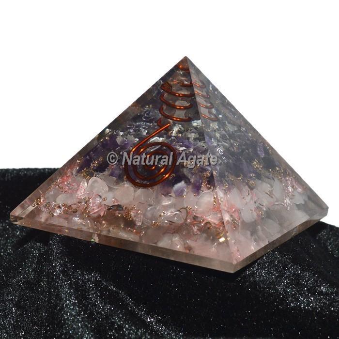 Rose Quartz With Amethyst Layer Pyramid