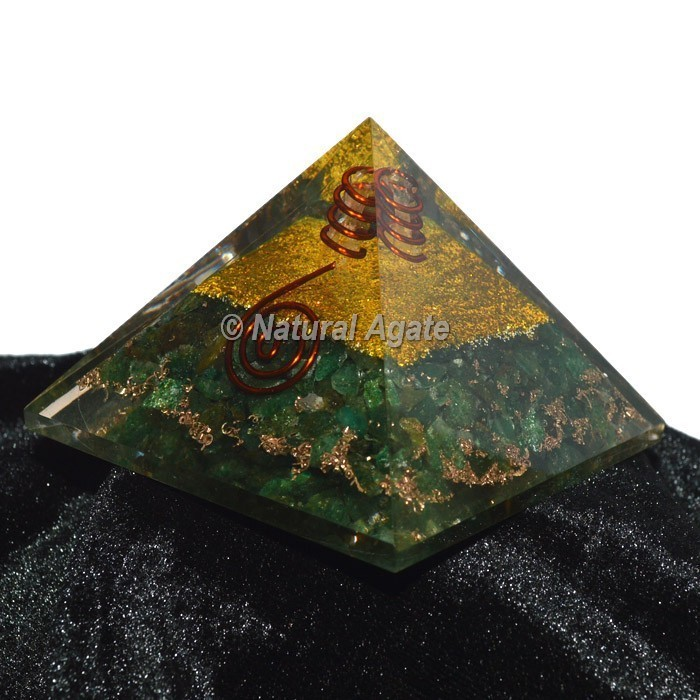 Green Jade With Golden Brass Orgone Pyramid