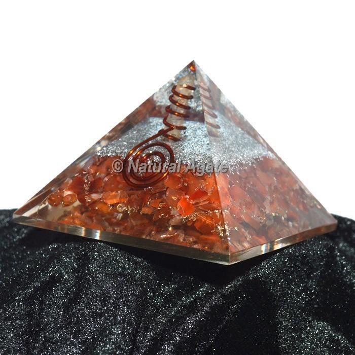 Peach Aventurine With Silver Brass Orgone Pyramid