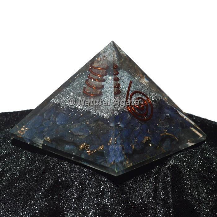 Sodalite With Silver Brass Orgone Pyramid