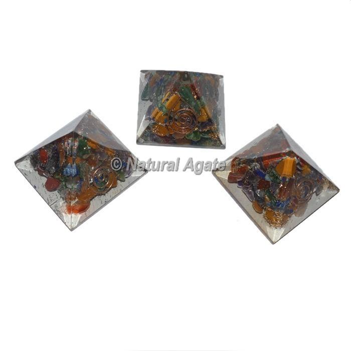 Seven Chakra Small Orgone Pyramid