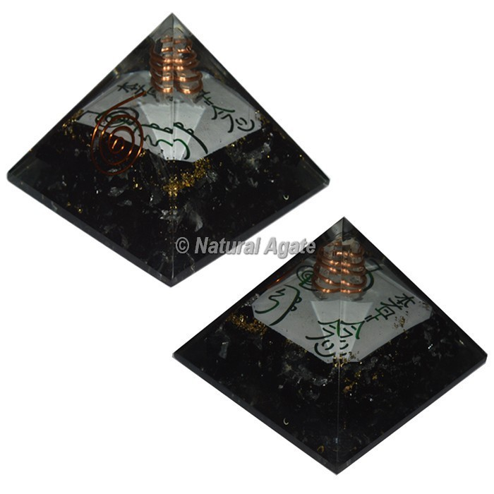 Black Tourmaline With Reiki Symbol Orgone Pyramid