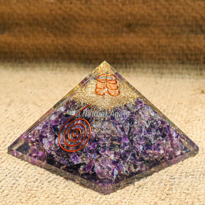 Amethyst EMF protection Orgonite Pyramid