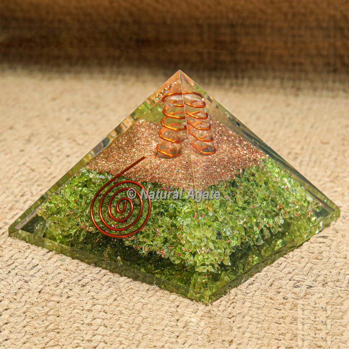 Peridot with Crytsal Point Orgonite Protection Pyramid