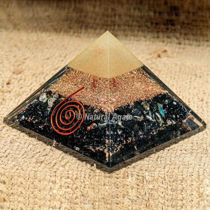 Black Tourmaline with Brass Dust Orgonite Protection Pyramid