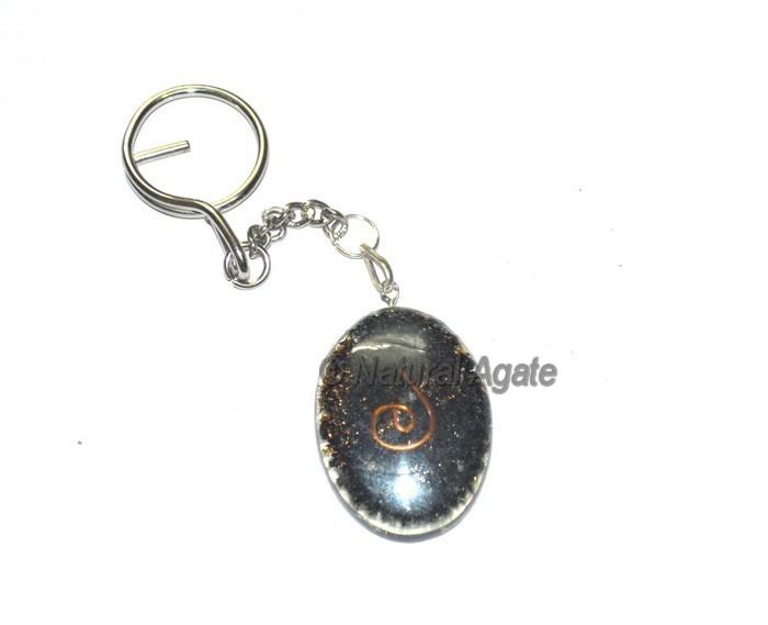 Black Tourmaline Oval Orgone Keyring
