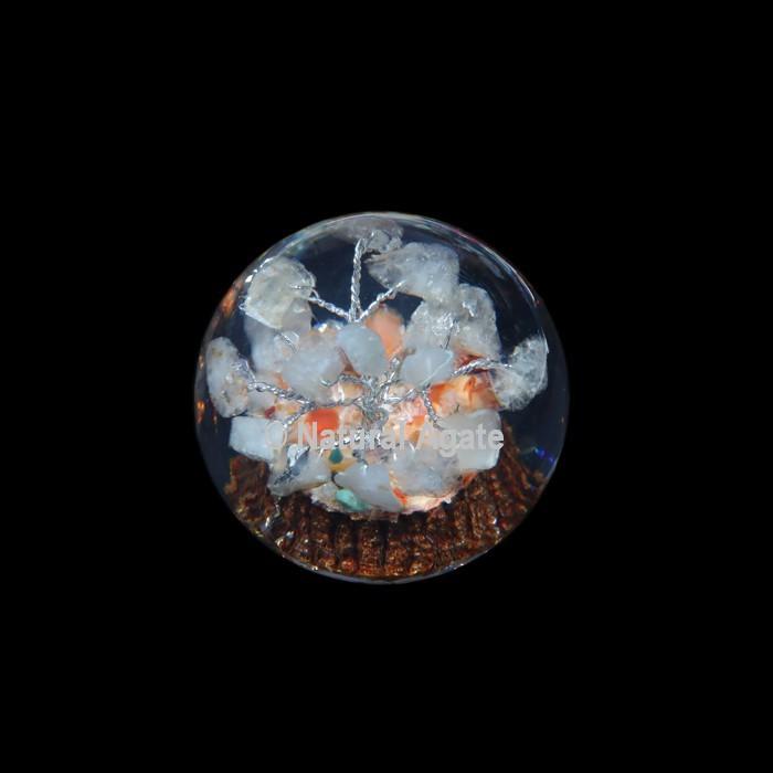 Crystal Quartz Tree Orgone Sphere