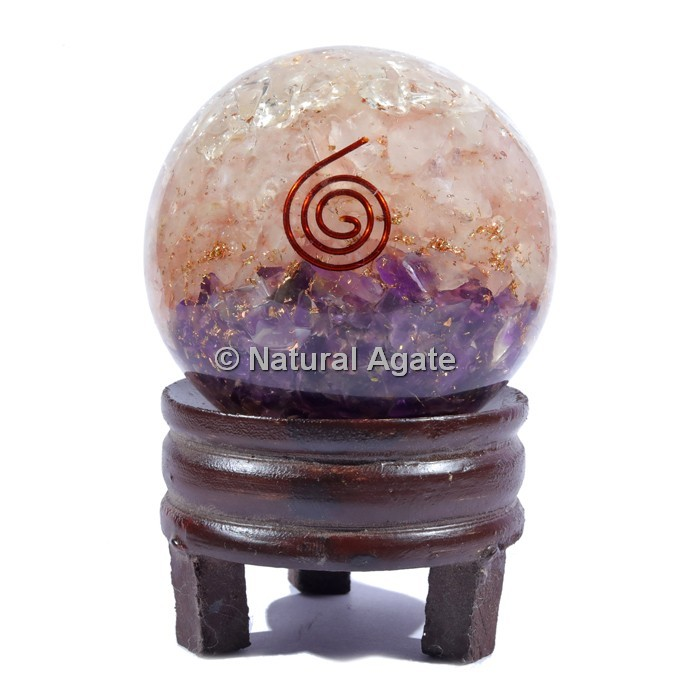 RAC Orgone Sphere With Spiral Reiki with Stand
