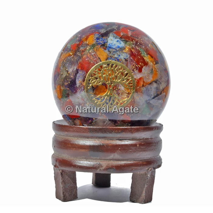 Seven Chakra Orgone Sphere With Tree Of Life with Stand