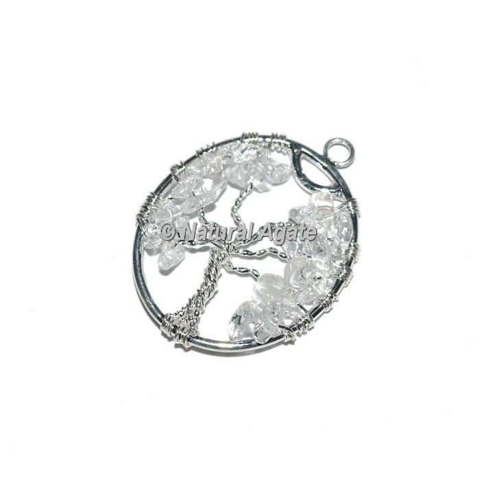 Crystal Quartz Tree Of Life Silver Pendants