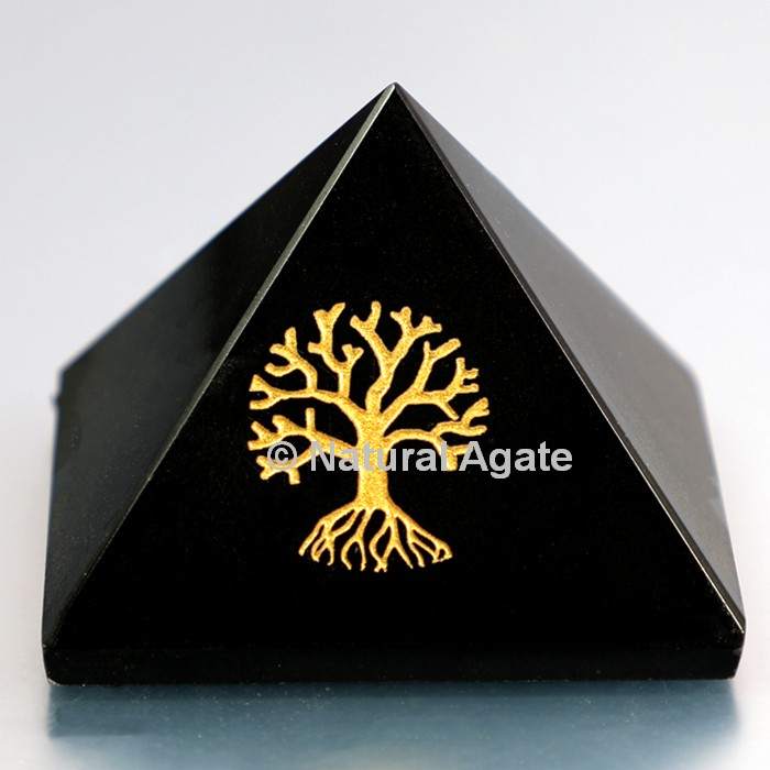 Black Agate Pyramid With Engraved Tree Of Life