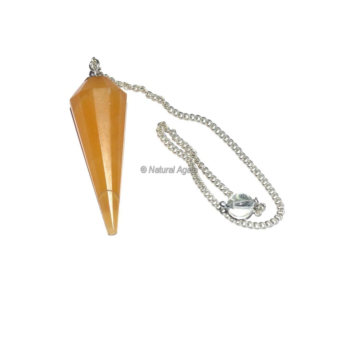 Golden Quartz 12 Faceted Pendulum