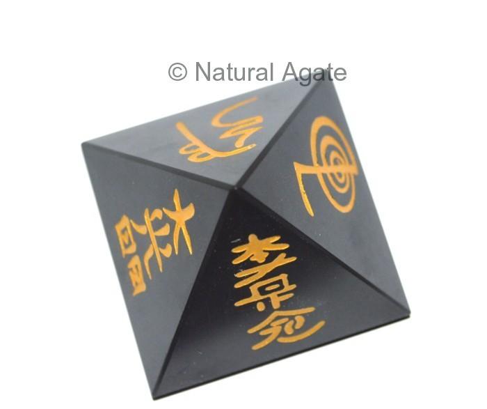 Black Agate Usui Reiki Set with Gold Color