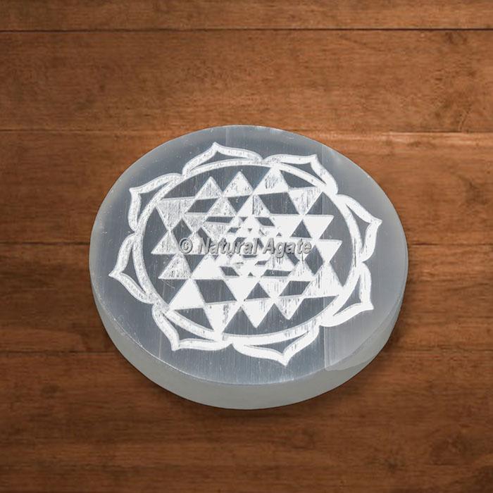 Selenite Engraved Shree Yantra Charging Plate