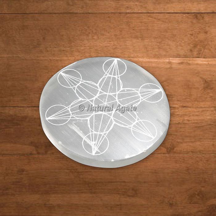 Selenite Engraved Metatron Cube Charging Plate
