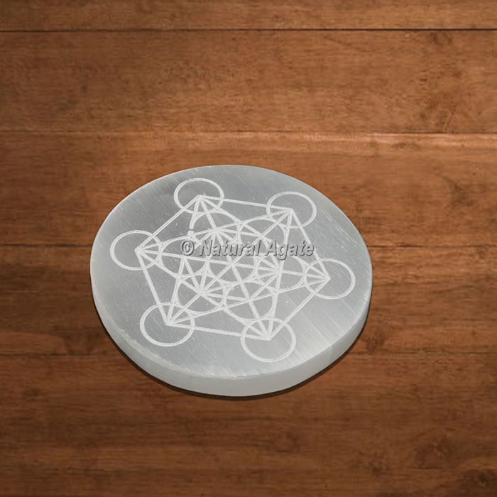 Selenite Charging Plate Engraved Metatron Cube