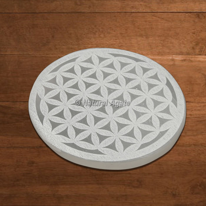 Selenite Charging Plate Engraved Flower Of Life