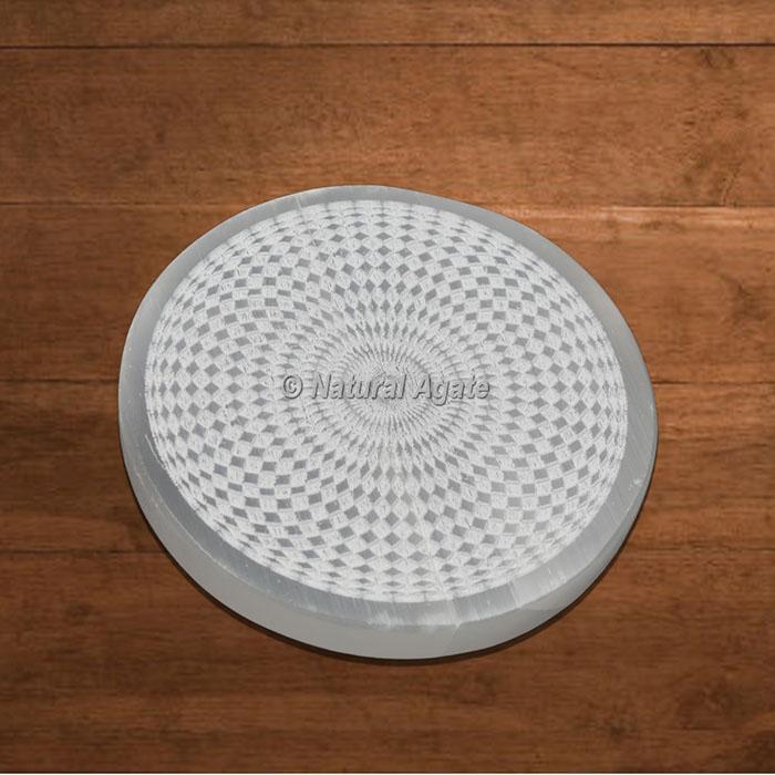 Selenite Charging Plate Engraved Celtic 3D Design
