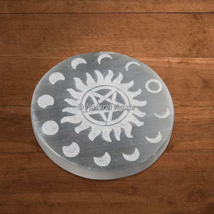 Selenite Charging Plate Engraved Phases Of Moon with Pentagram Star