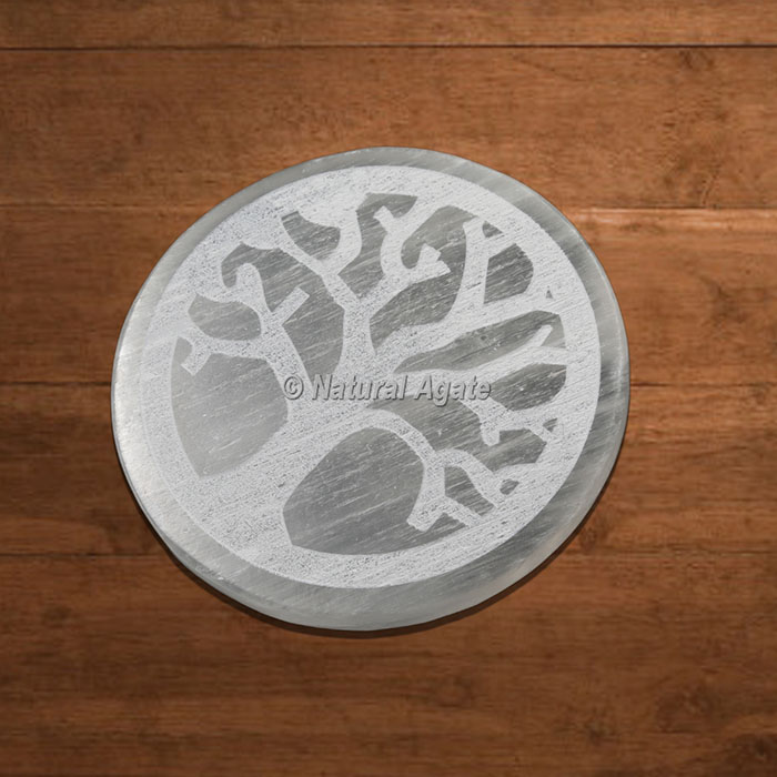 Selenite Charging Plate Engraved Tree Of Life