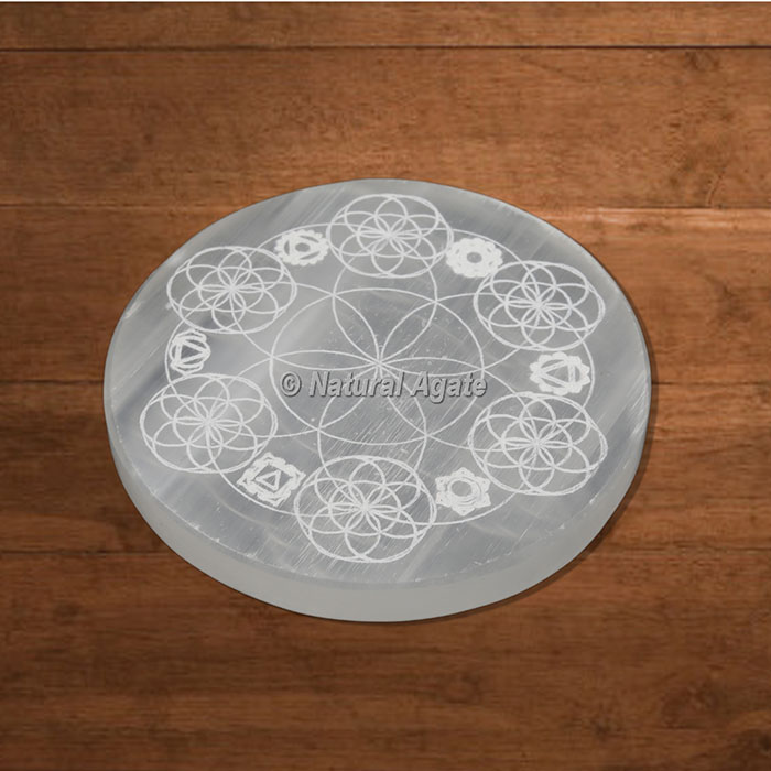 Selenite Charging Plate Engraved Flower Of Life with Chakras