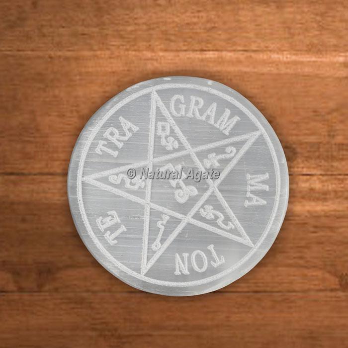 Selenite Charging Plates Pentagram Te Tra Gram Ma Ton