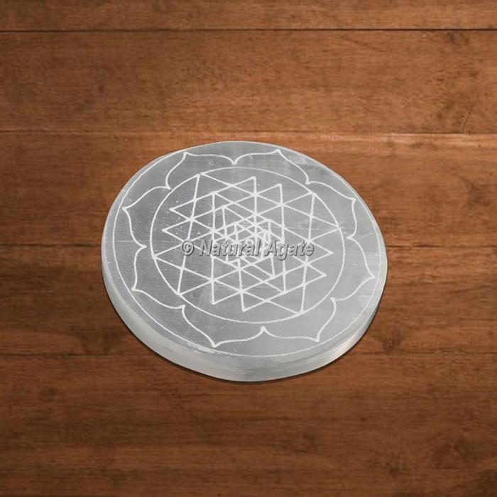 Selenite Charging Plate Engraved Shree Yantra