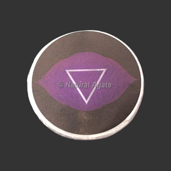 Third Eye Chakra Printed Selenite Charging Plate   Coaster