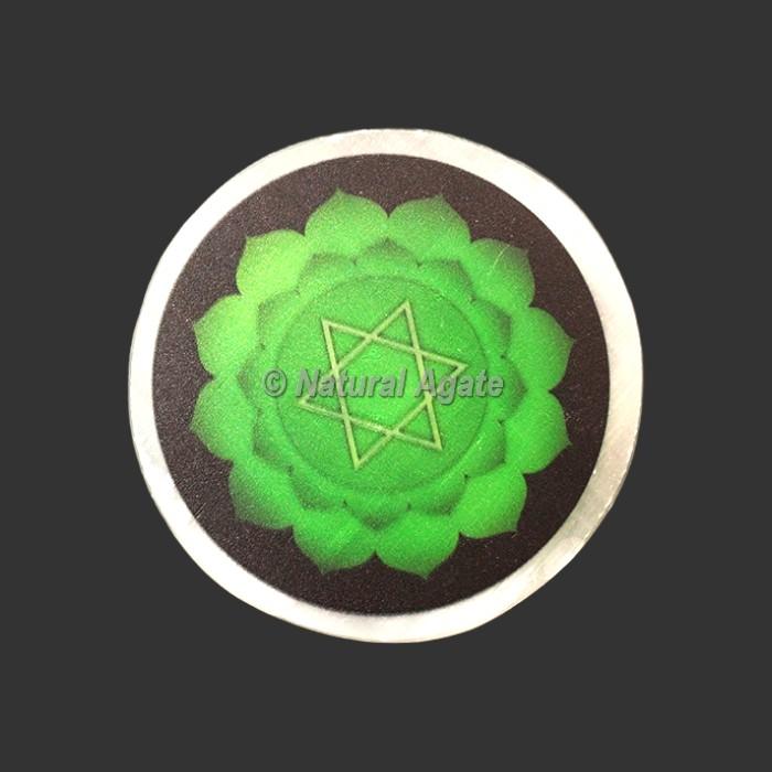 Heart Chakra Printed Selenite Charging Plate/Coaster