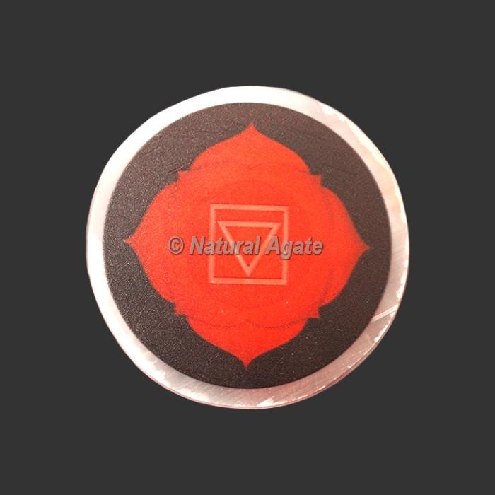 Root Chakra Printed Selenite Charging Plate/Coaster