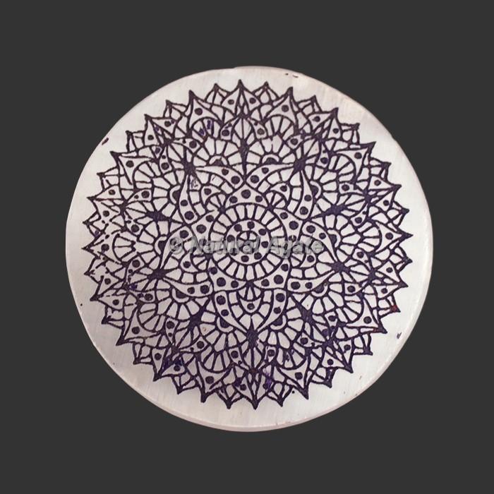 Engraved Crown Chakra Symbol Selenite Plate   Coaster