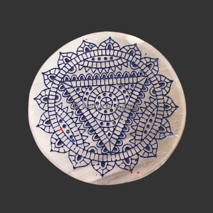 Engraved Throat Chakra Symbol Selenite Plate / Coaster
