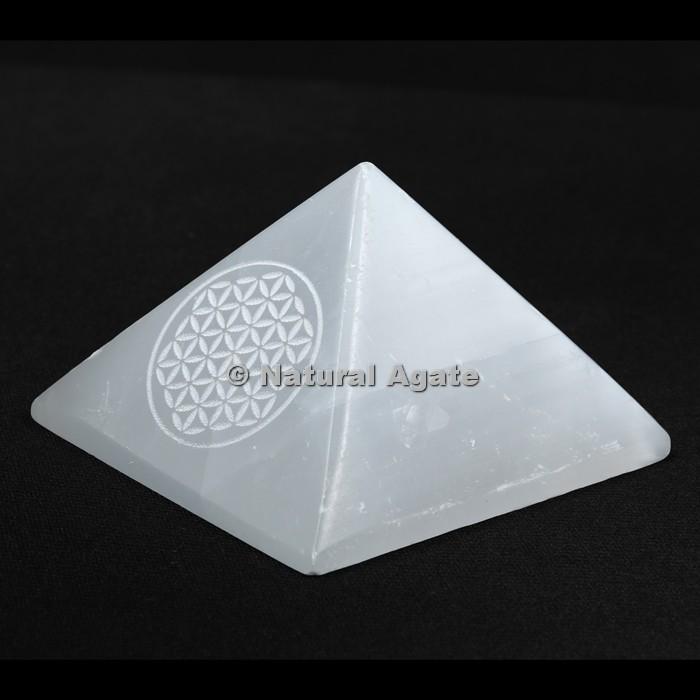 Flower Of Life Engraved Selenite Pyramid