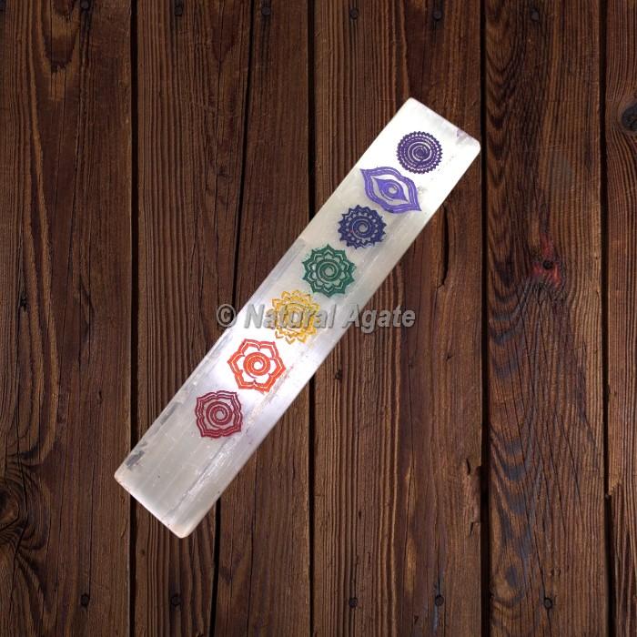 Engraved Seven Chakra Symbols Selenite Wand Plate Stick